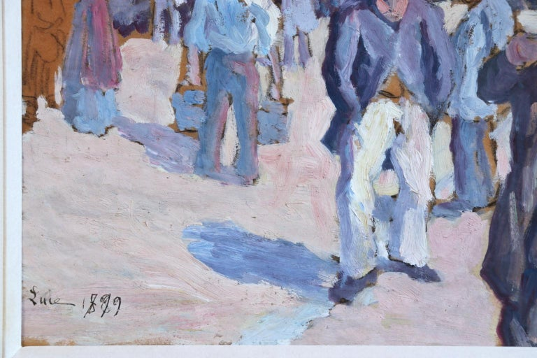 Oil on paper laid on canvas by French Impressionist painter Maximilien Luce. The work depicts figures betting at the old racetrack at Saint Ouen in the north east of Paris. Signed and dated 1899 lower left. Framed dimensions are 14 inches high by 18