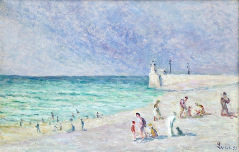 Figures on Beach - Treport - 20th Century Oil, Coastal Landscape by M Luce - Painting by Maximilien Luce