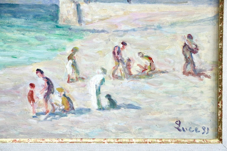 Figures on Beach - Treport - 20th Century Oil, Coastal Landscape by M Luce - Impressionist Painting by Maximilien Luce