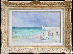 Figures on Beach - Treport - 19th/20th Century Oil, Coastal Landscape by M Luce