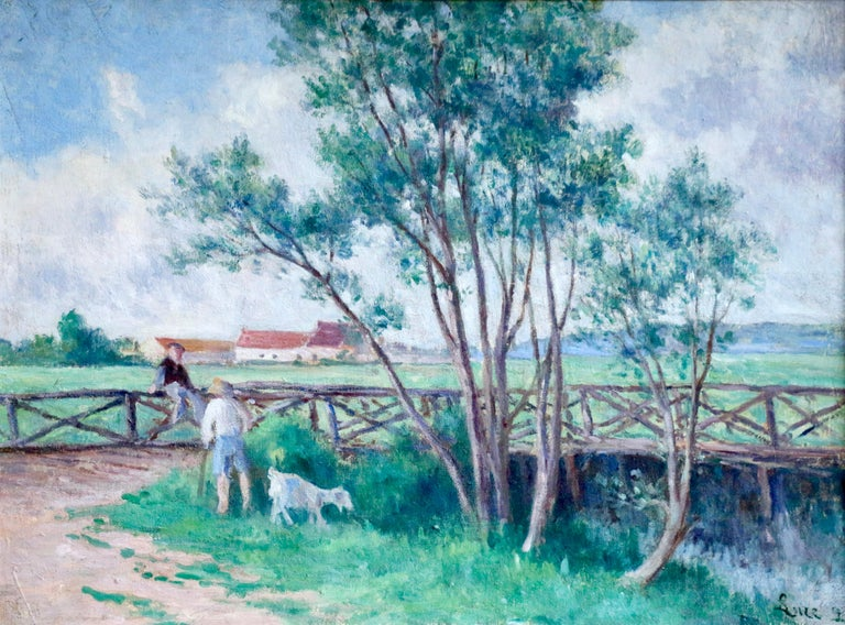 Guernes-19th Century Oil, Figures & Dog by River in Landscape by Maximilien Luce For Sale 1