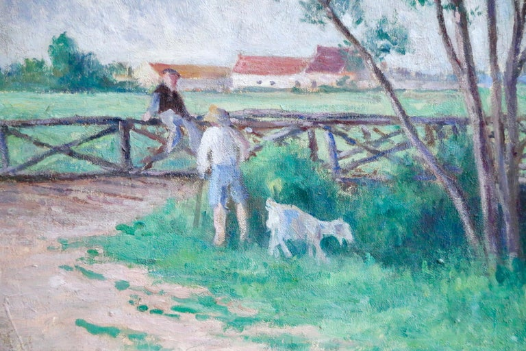 Guernes-19th Century Oil, Figures & Dog by River in Landscape by Maximilien Luce For Sale 2