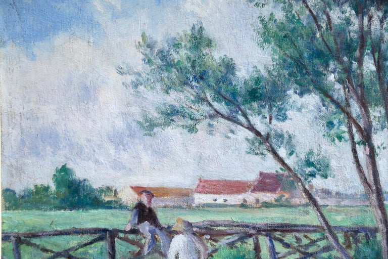 Guernes-19th Century Oil, Figures & Dog by River in Landscape by Maximilien Luce For Sale 5