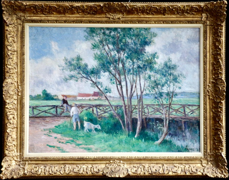 """""""Guernes, la passerelle sur le bras de la Seine""""  A large oil on canvas by popular French artist Maximilien Luce. A completely magnificent and superb piece. Signed and dated 1924 right. Framed dimensions are 29.5 inches high by 37 inches"""