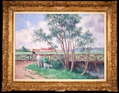 Guernes-19th Century Oil, Figures & Dog by River in Landscape by Maximilien Luce