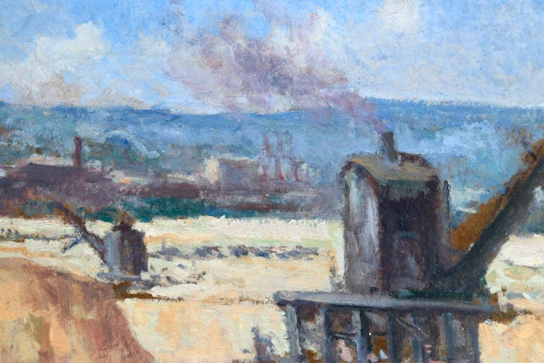 Industrie-Charleroi - Impressionist Oil, Figures in Landscape by Maximilien Luce For Sale 9