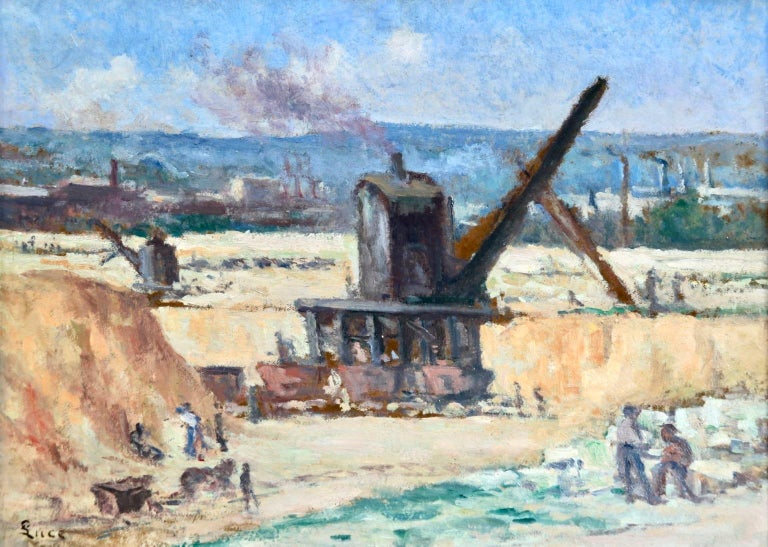 Industrie-Charleroi - Impressionist Oil, Figures in Landscape by Maximilien Luce For Sale 1
