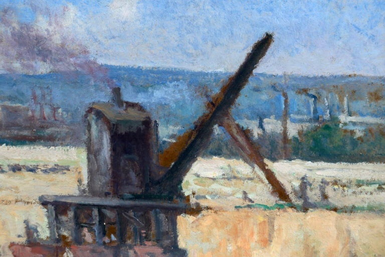 Industrie-Charleroi - Impressionist Oil, Figures in Landscape by Maximilien Luce For Sale 2