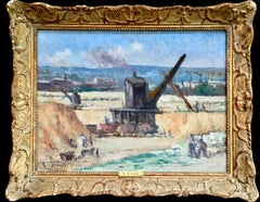 Industrie-Charleroi - Impressionist Oil, Figures in Landscape by Maximilien Luce
