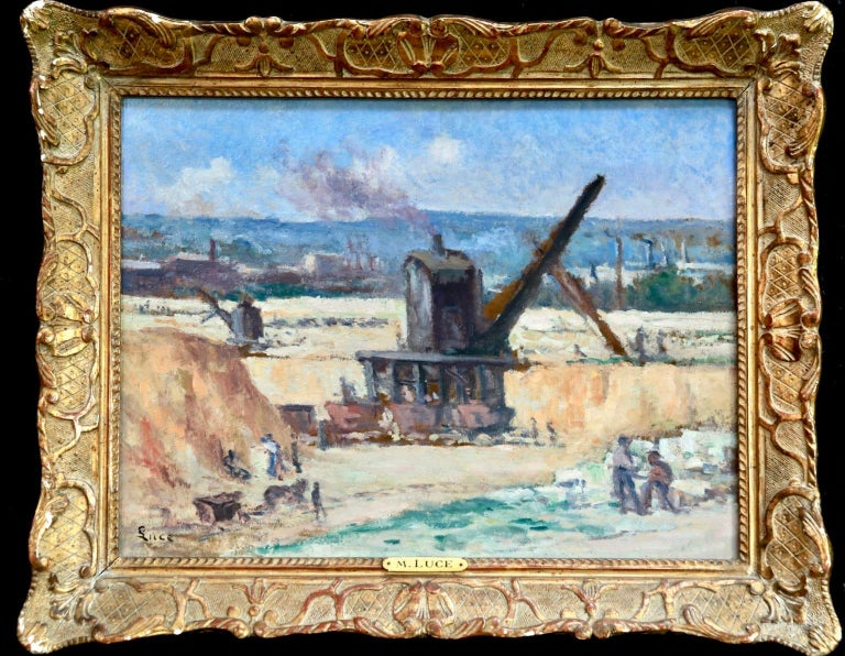 A wonderful oil on board by French impressionist painter Maximilien Luce, depicting labourers mining in Charleroi. Signed lower left. With many thanks to Mme. Denise Bazetoux for conforming the authenticity of this work and its