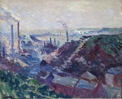 La Vallèe Industrielle de la Sambre - 19th Century Oil, Landscape by M Luce