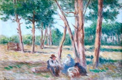 """Le Repos a Rolleboise"" Luce C.19th French Impressionist Figures in Landscape"