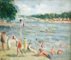 Les Baigneuses - 19th Century Oil, Figures at the Beach by Maximilien Luce