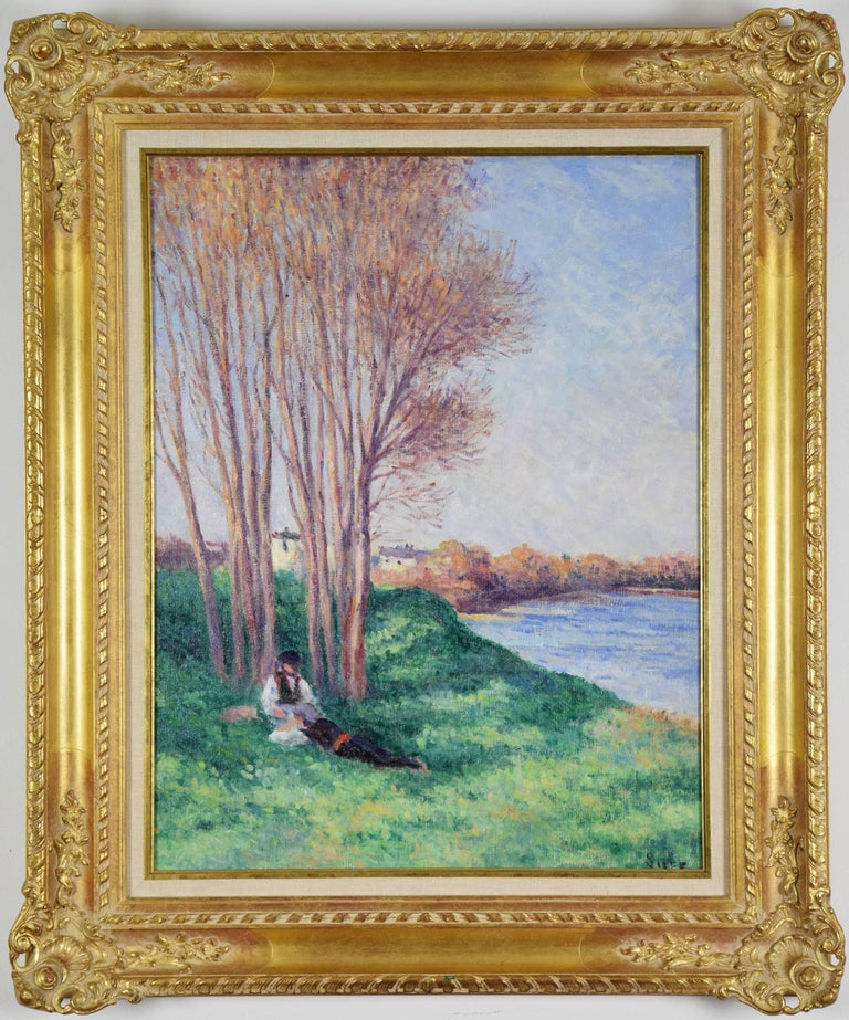 Le Repos sur les Bords de la Loire à Saint-Ay by MAXIMILIEN LUCE (1858-1941)  Oil on canvas 64.8 x 50.5 cm (25 ½ x 19 ⅞ inches) Signed lower right, Luce Inscribed with title on reverse Executed circa 1910-1912  Provenance Hammer Galleries, New York
