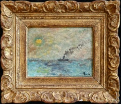 Steamer at Sunset - Impressionist Oil, Boat in Seascape by Maximillien Luce