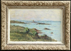 Sur la Cote - 19th Century Oil, Boat at Sea Coastal Landscape by Maximilien Luce