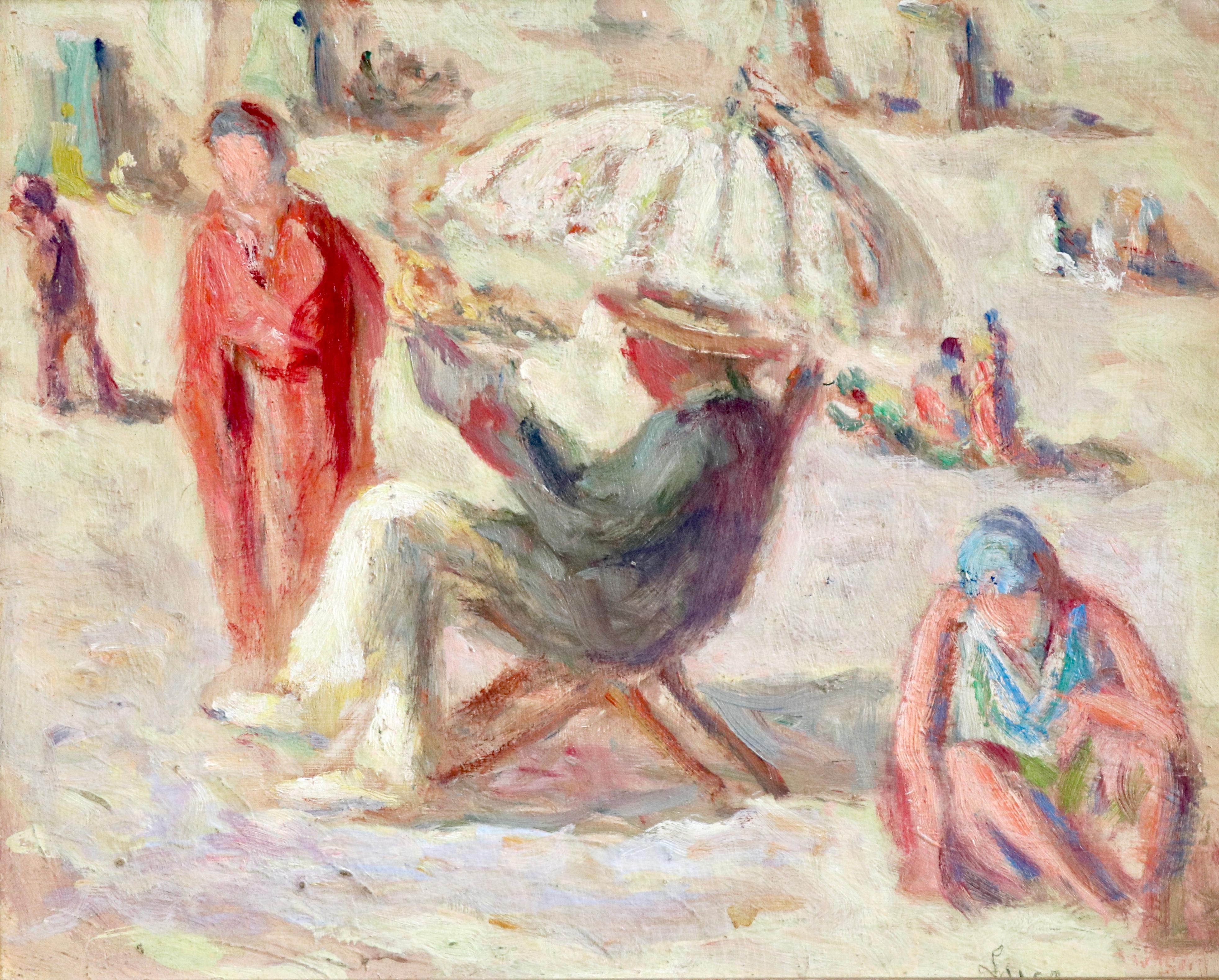 Sur la Plage - Riva Bella - 19th Century Oil, Figures at Beach Landscape by Luce
