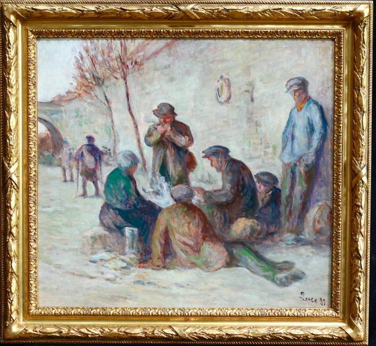 Sur Les Berges - 19th Century Oil, Figures by the Canal by Maximilien Luce For Sale 1