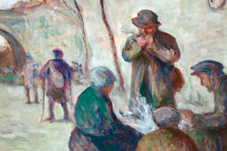 Sur Les Berges - 19th Century Oil, Figures by the Canal by Maximilien Luce For Sale 3