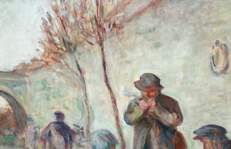 Sur Les Berges - 19th Century Oil, Figures by the Canal by Maximilien Luce For Sale 4