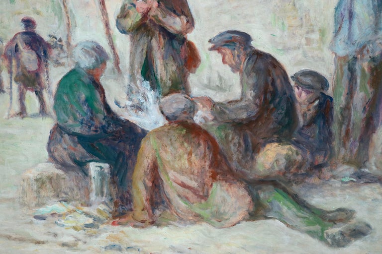 Sur Les Berges - 19th Century Oil, Figures by the Canal by Maximilien Luce For Sale 7