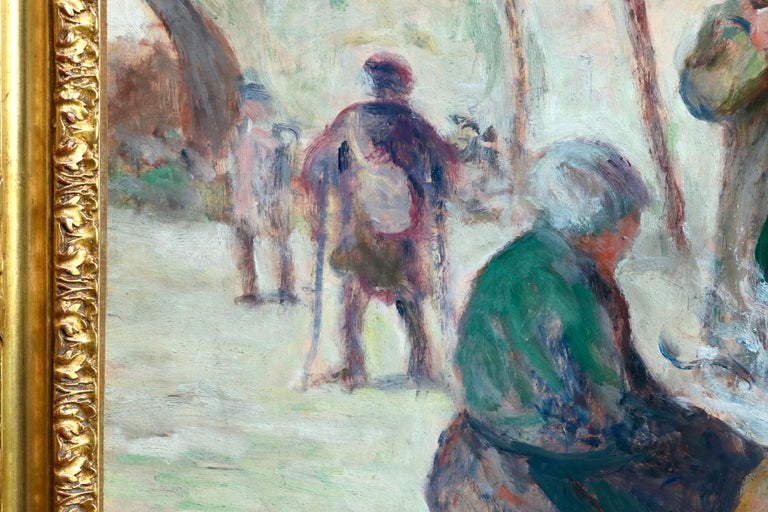 Sur Les Berges - 19th Century Oil, Figures by the Canal by Maximilien Luce For Sale 8