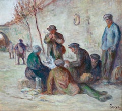 Sur Les Berges - 19th Century Oil, Figures by the Canal by Maximilien Luce