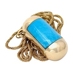 """Maximoto"" Sleeping Beauty Turquoise Bullet Pendant in Gold with Long Rope Chain"