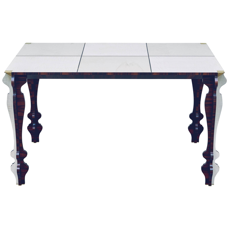 """Maxine"" 21st Century Black & White Ebony and Flamed Maple Table"