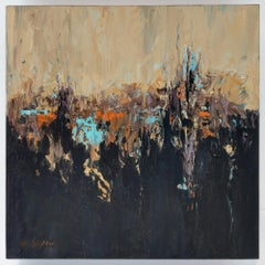 """Maxine Price, """"Controlled Burn"""", 2018, Oil with cold wax on Panel"""
