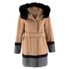 MaxMara Two Tone Belted Wool Coat W/ Rabbit Fur Trim UK 8