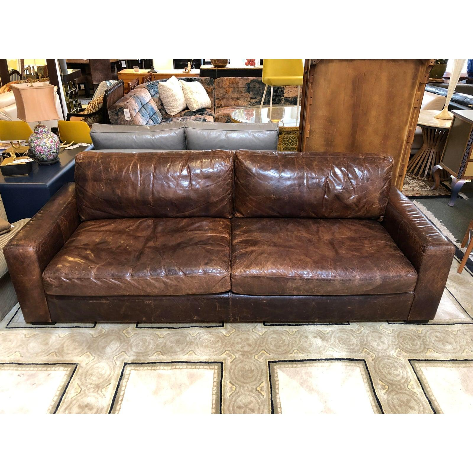 Superieur Maxwell Distressed Leather Sofa By Restoration Hardware