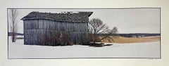 Barn in Snow, Winter Landscape, Large Panoramic Color Photograph Signed Photo