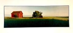 Farm, Summer Landscape, Large Panoramic Vintage Color Photograph Signed Photo