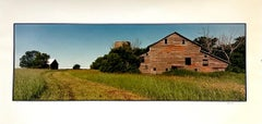 Old Barn Summer Landscape, Large Panoramic Vintage Color Photograph Signed Photo
