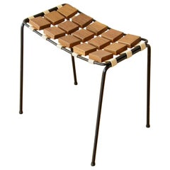 """Maxwell Yellen """"Checkerboard Collection"""" Iron Frame and Wood Stool, circa 1953"""