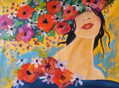 """Woman Floral Painting Portrait Textured Giclee on Canvas 45x60"""" Sunlight Spring"""