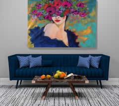 """Floral Painting Portrait Textured Giclee Canvas 45x60"""" Spring Passion Bohemian"""