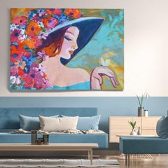 "Floral Painting Portrait Textured Giclee on Canvas 45x60"" Dreamy Spring Flowers"