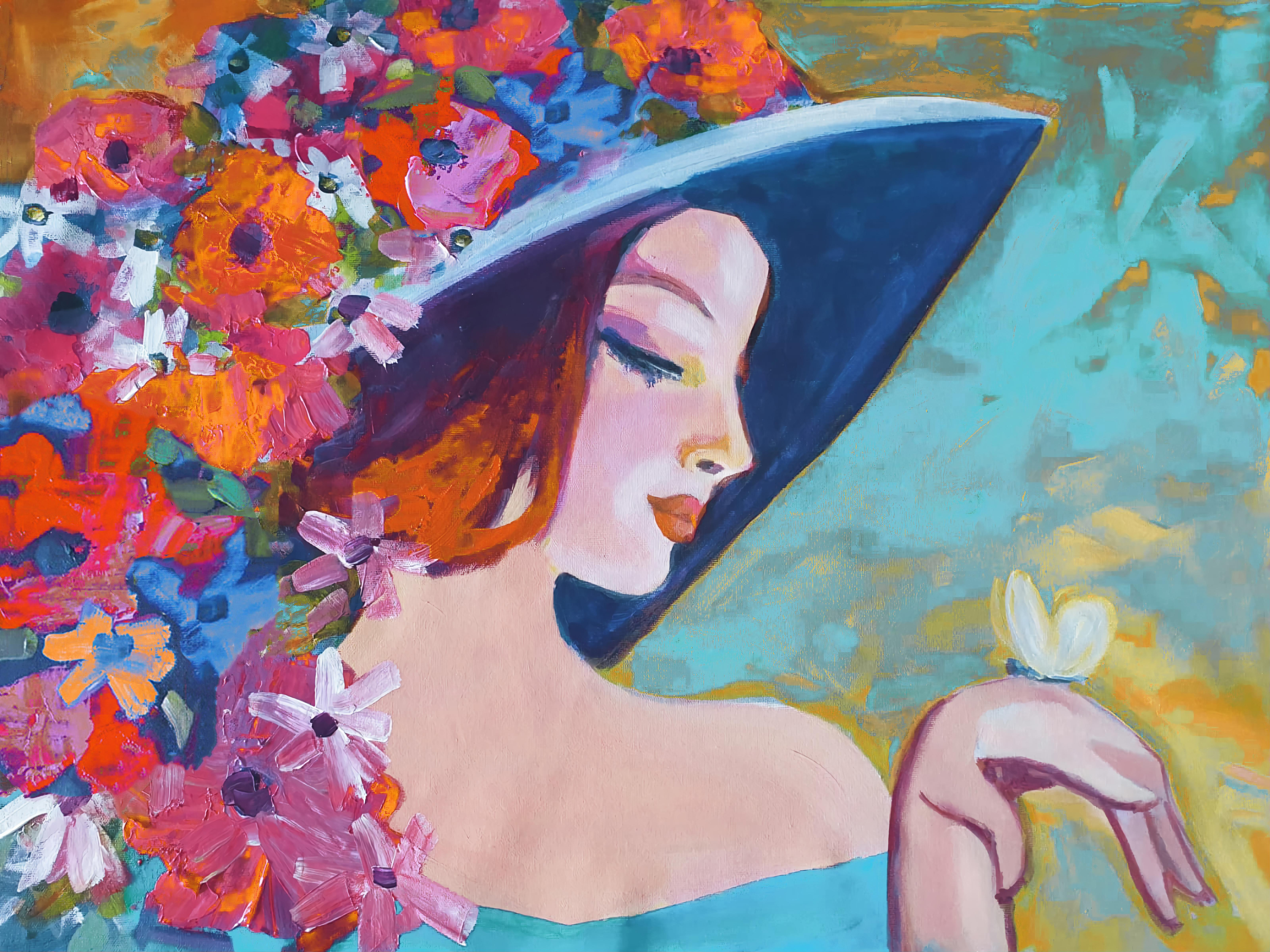 """Floral Painting Portrait Textured Giclee on Canvas 45x60"""" Dreamy Spring Flowers"""