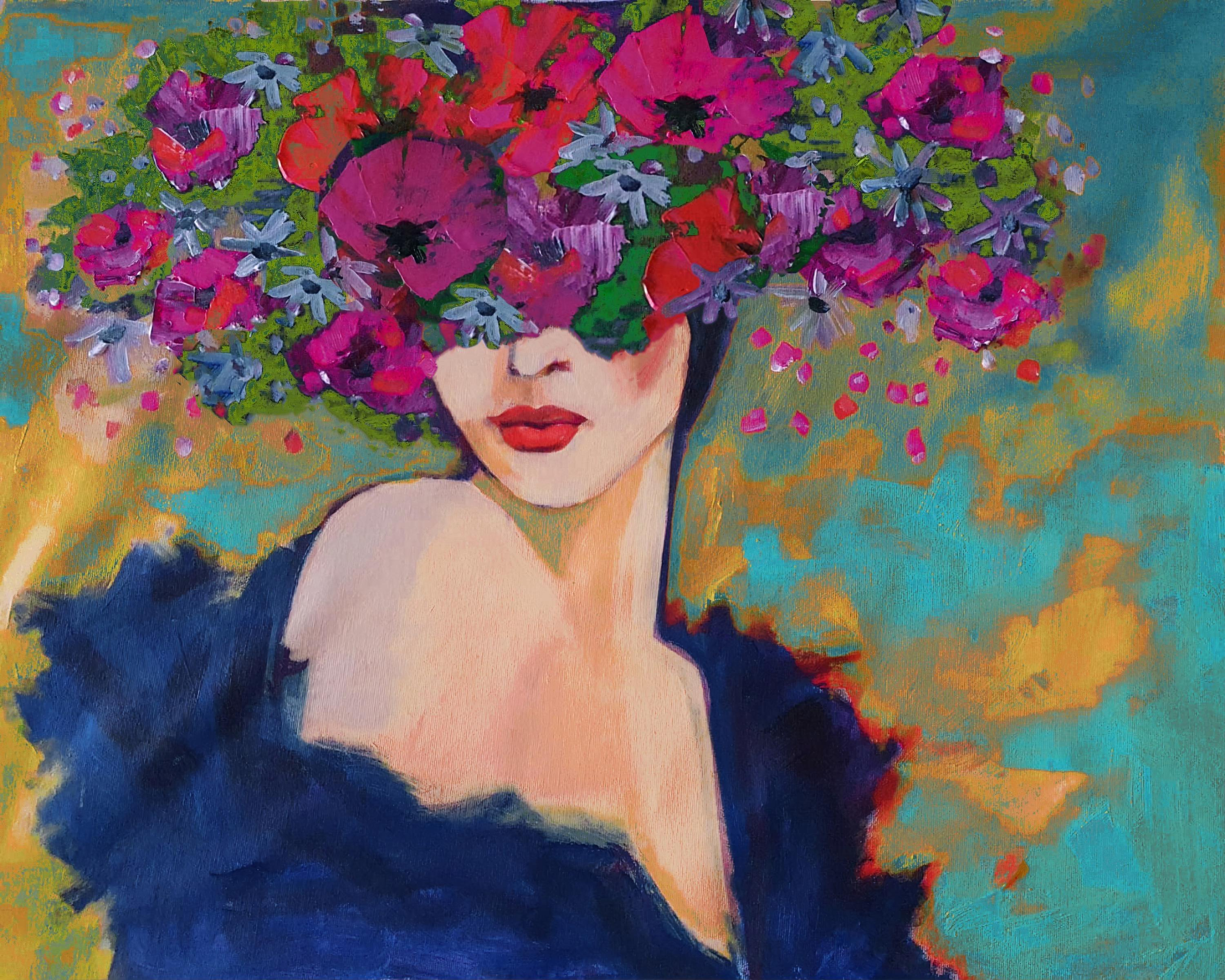 Floral Painting Portrait Textured Mixed Media Spring Passion Bohemian