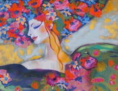 """Floral Head Romantic Painting Textured Giclee on Canvas 45x60"""" Spring is Here"""