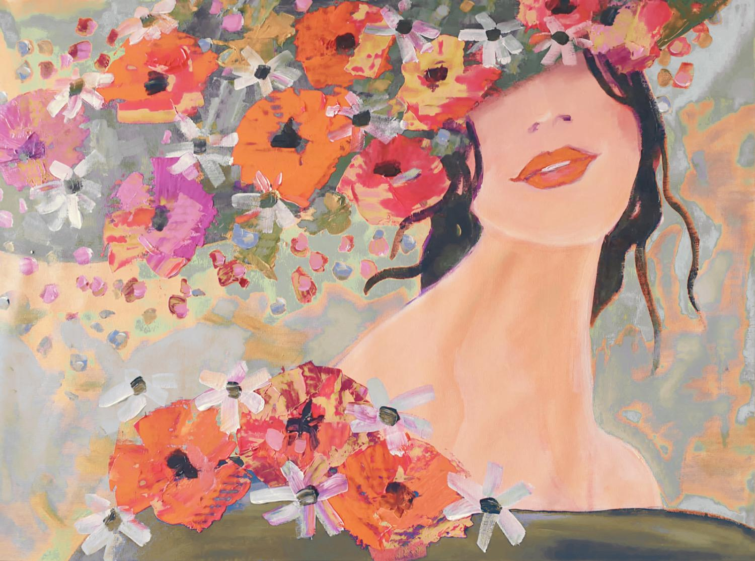 """Woman Floral Painting Portrait Textured on Canvas 38""""x 54"""" Sunlight Spring"""