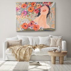 "Woman Floral Painting Portrait Textured Giclee on Canvas 48x36""  Sunlight Spring"