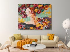 "Woman Floral Portrait Painting Textured Giclee on Canvas 45x60"" Spring is Here"