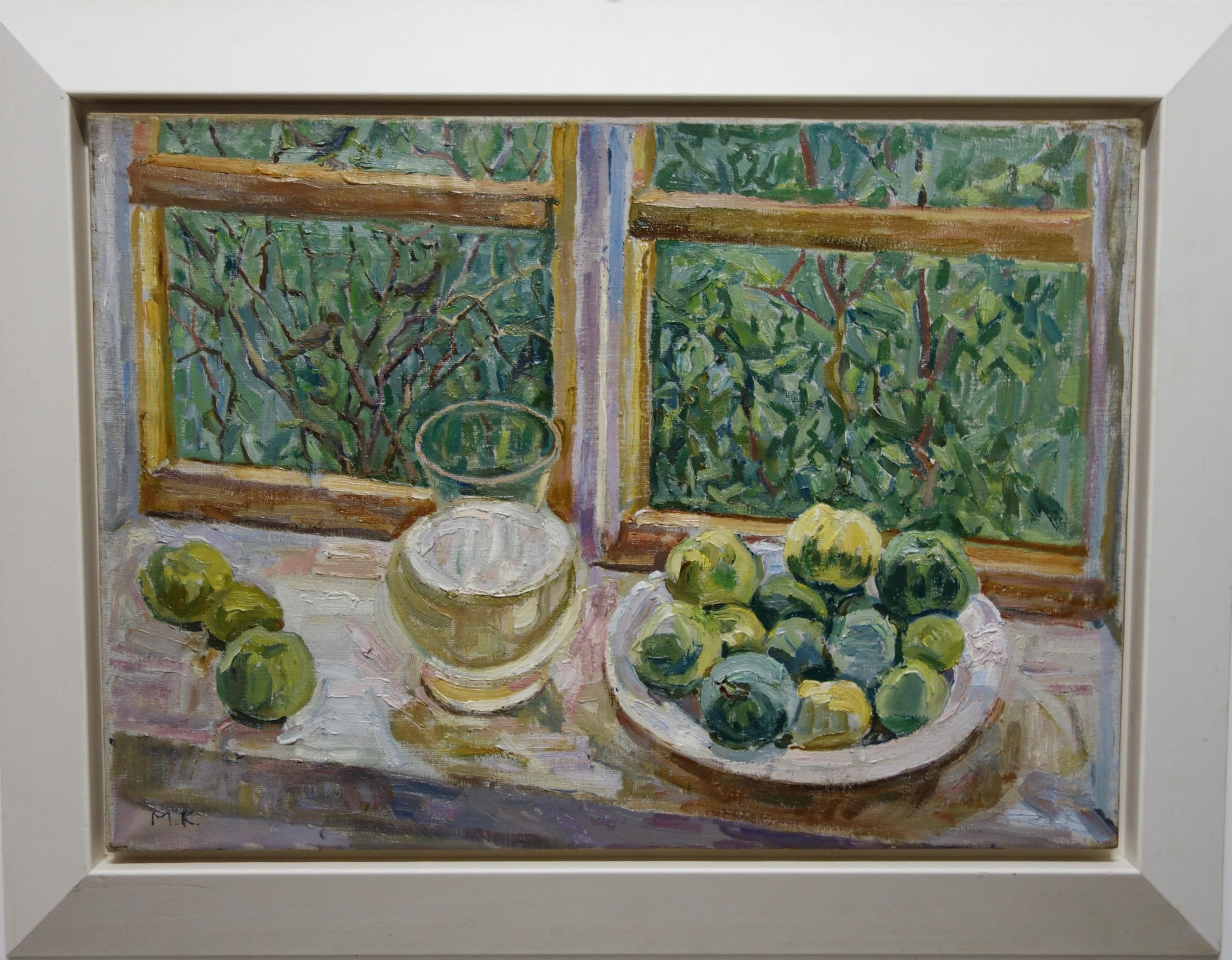 """""""Apples near the window"""" Green, White, Window, Impressionist, Window,cm. 70 x 50"""