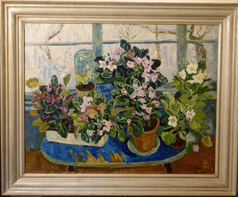 "Maya KOPITZEVA Figurative Painting - ""flower pot""  flowers , window, cm. 90 x70  1995"