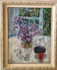 Flowers near the window , Purple bellflowers, berries, window  Oil