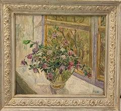 """Flowers on the windowsill"" Window,rose,flowers,spring,pink  Oil cm. 55 x 50"