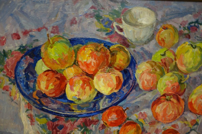 Fruit on the table ,Still life ,  oil  cm 62 x 67 - Painting by Maya KOPITZEVA